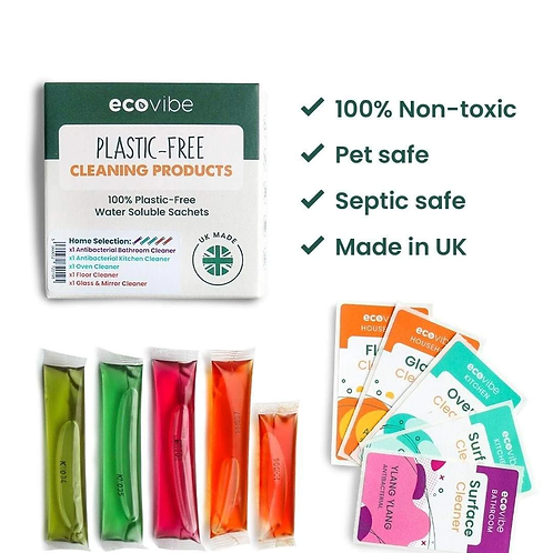 Soluble antibacterial cleaner sachets by Ecovibe and Iron & Velvet