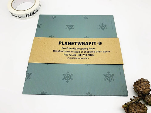 """Recycled/recyclable gift wrap: """"Dusky blue snowflake"""" by Planetwrapit"""