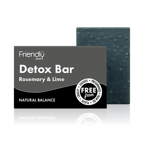 "Soap bar for face: ""Detox: activated charcoal, rosemary & lime"" by Friendly Soap"