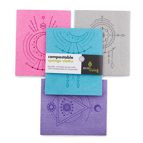 Compostable sponge cleaning cloths (4 pack) by Ecoliving