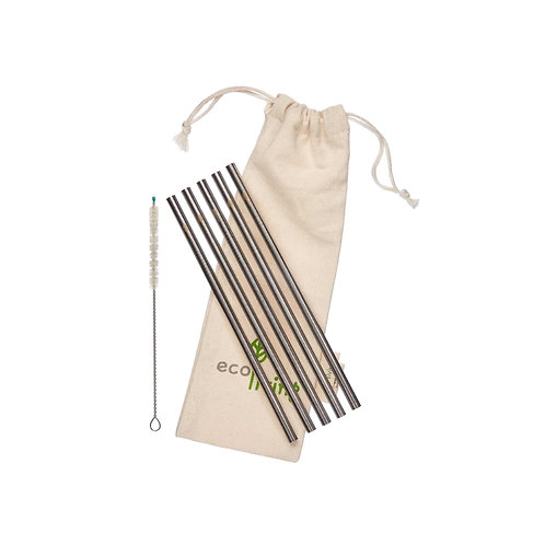 Steel straw (Straight. 5 pack with bag) by Ecoliving