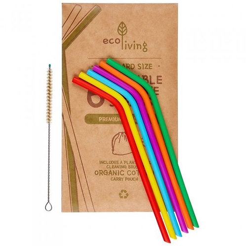 Silicone straw (6 pack with bag & cleaning brush) by Ecoliving