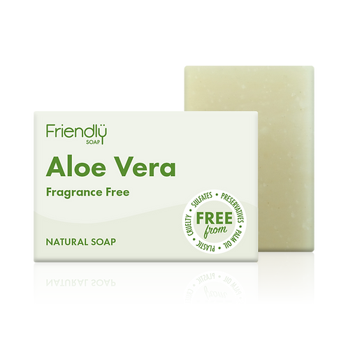 "Soap bar for face & body: ""Fragrance free aloe vera"" by Friendly Soap"