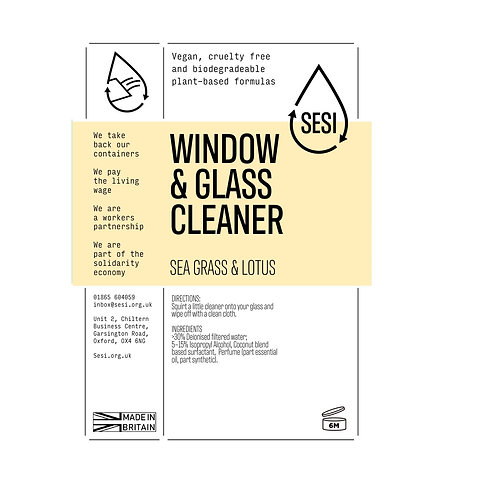 "Window & glass cleaner: ""Sea grass & lotus"" by SESI"
