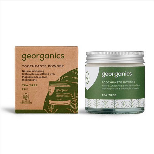 "Toothpaste powder: ""Tea tree"" by Georganics"