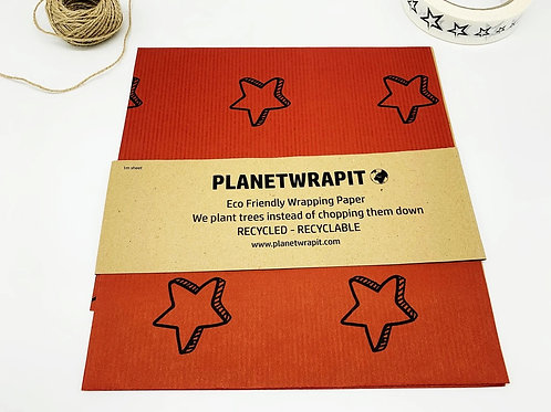 """Recycled/recyclable gift wrap: """"Deep red star"""" by Planetwrapit"""