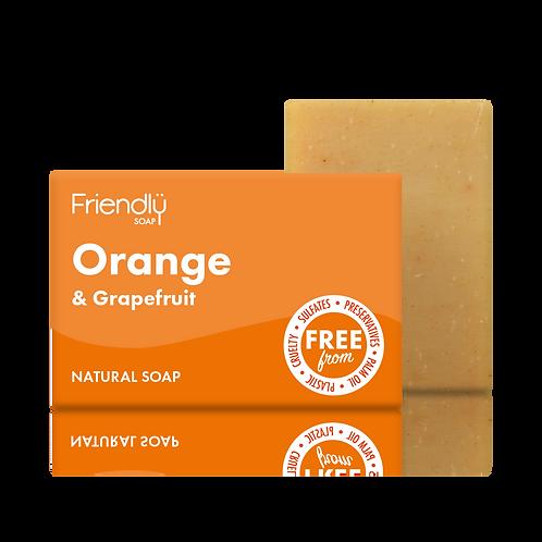 "Soap bar for face & body: ""Orange & grapefruit"" by Friendly Soap"