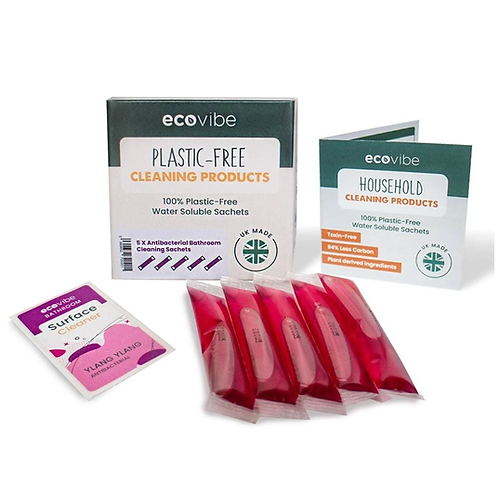 Soluble antibacterial bathroom cleaner sachets by Ecovibe and Iron & Velvet