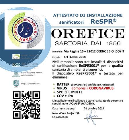 CERTIFICATO installazione SARTORIA OREFI