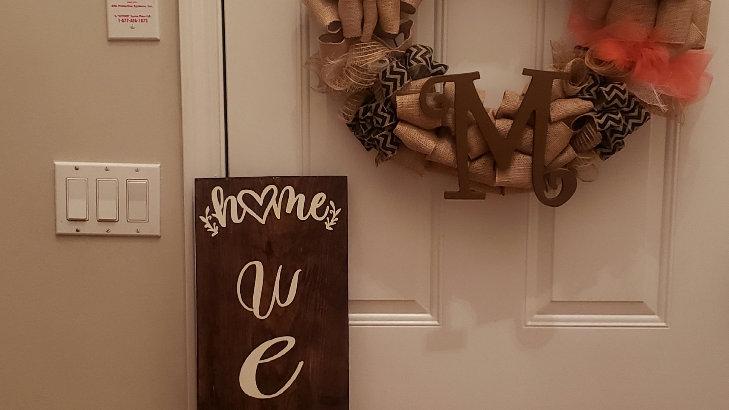 Wooden welcome door sign