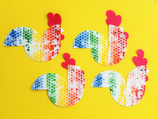 Paper Plate Rainbow Roosters