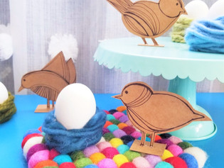 Cereal Box Birds with Yarn Nest