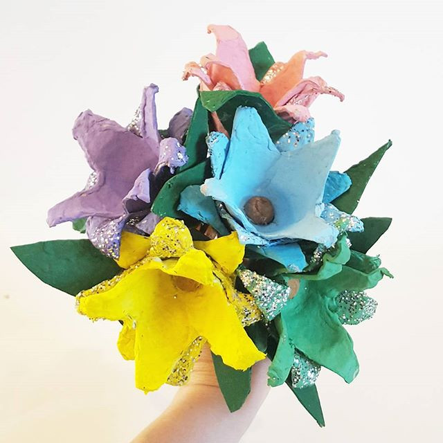 Egg Carton Floral Bouquet