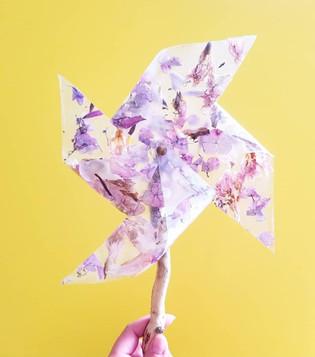 Pressed Flower Pinwheel