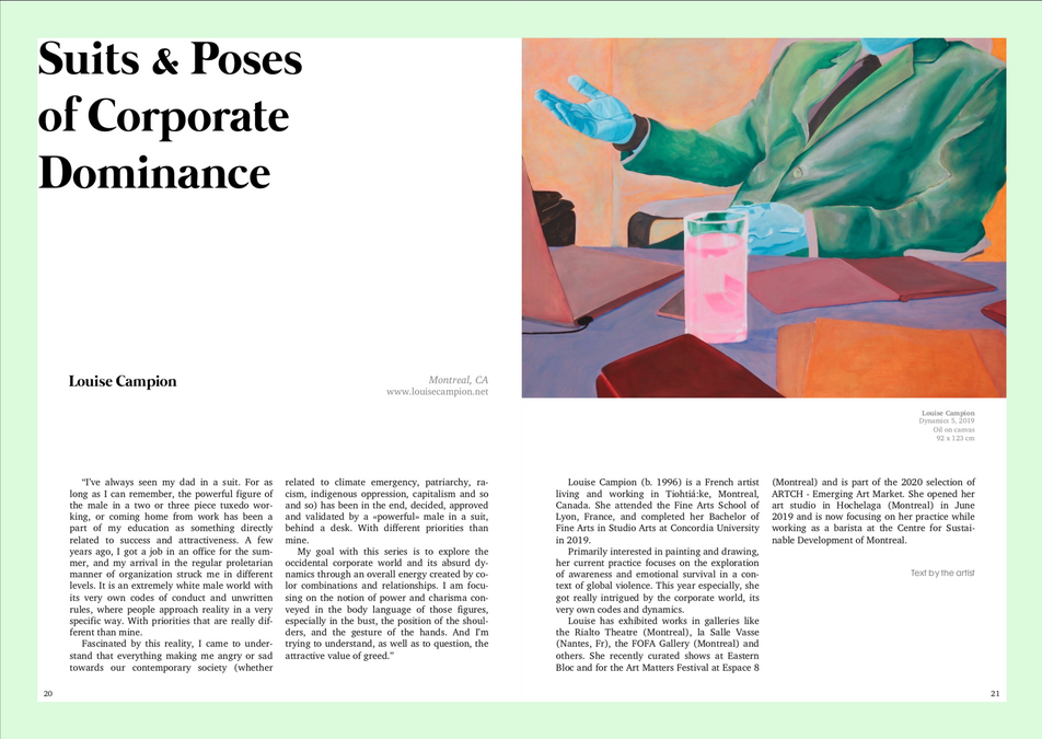 """Daniela Zamora, """"Suits and Poses of Corporate Dominance: Interview with Louise Campion"""", RICE Initiative Magazine, 1. Barcelona, Spain. 2020."""