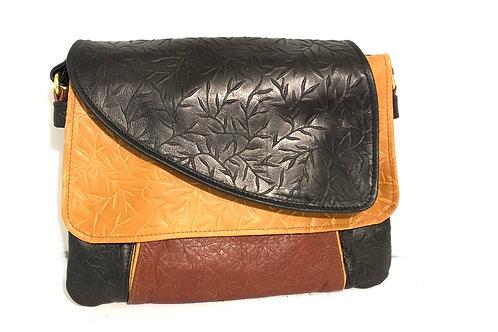 Style #112 Tulip - Tiny Leaves Embossed Multi Tone Leather Crossbody Bag