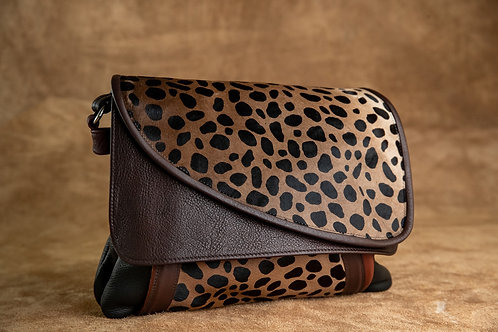 Style #112 Tulip - Black w/ Cheetah Fur Printed Leather Crossbody Bag