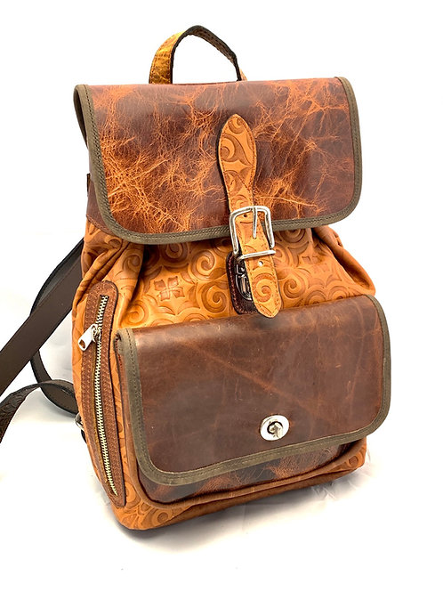 Backpack Medium Antique Tan w/soft Embossed Design Leather