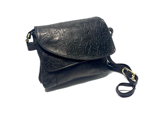 Style #113 Tiny Leaves - Tulip Jr. Embossed Leather Crossbody Bag