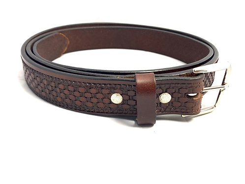 English Bridle Leather Belt Stamped Basketweave
