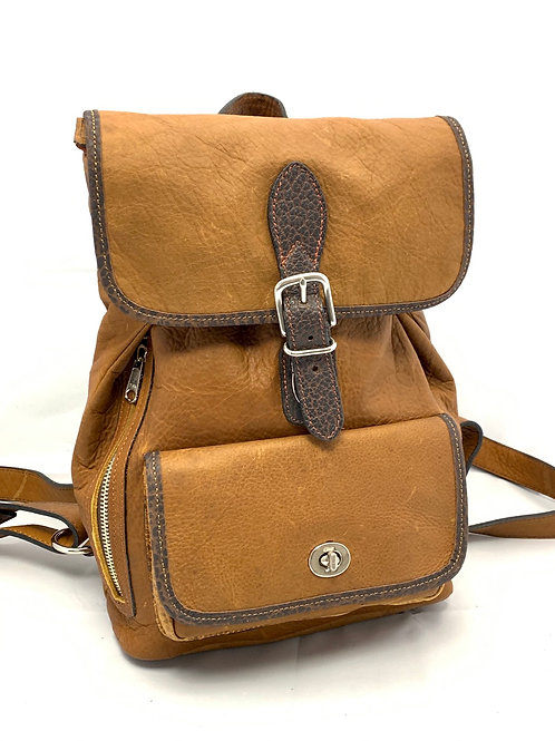 Style Backpack Medium Bison TanLeather/Chocolate Accents