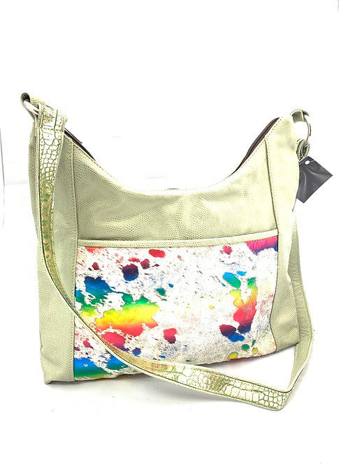 Hobo Style Crossbody Bag Seagreen Lizard Print Leather
