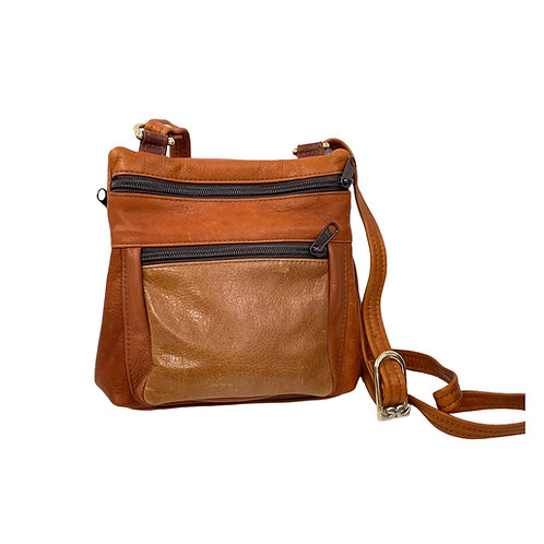 Style #120 Multi tan tone Leather Crossbody Bag