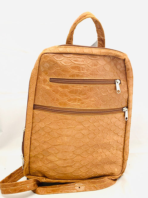 Slim Style Leather Backpack Tan Reptile Embossed Print