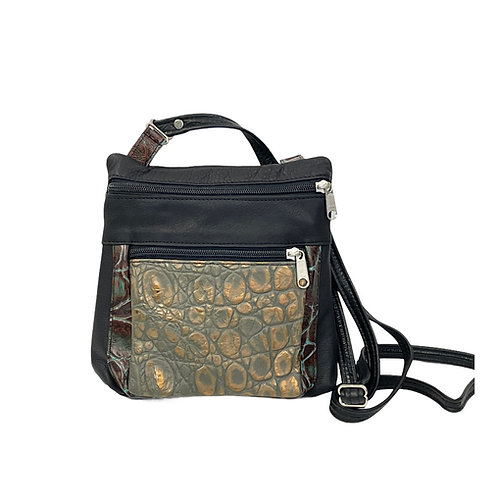 Style #120 Two Tone Black w/Embossed Croco Leather Crossbody Bag