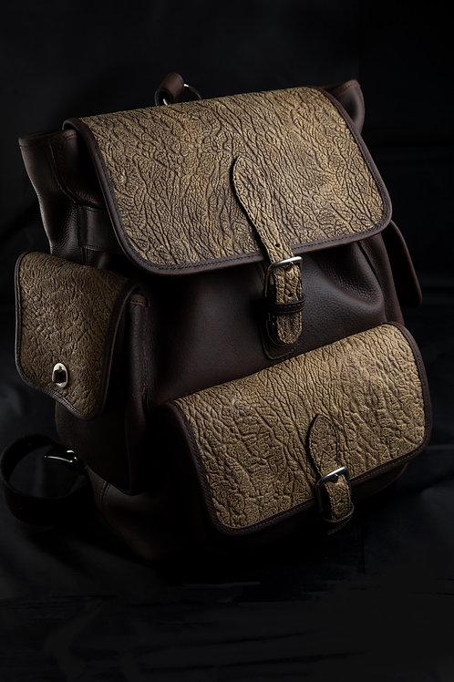 Triple Compartment Backpack Oily Brown/Embossed Elephant Leather