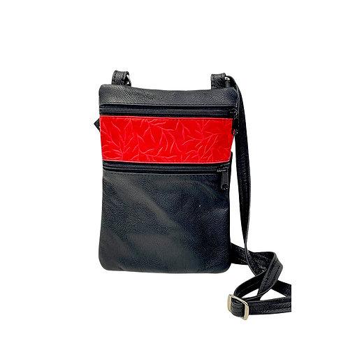 Small Double Zipper Crossbody Bag Black w/Red Tiny Leaves print