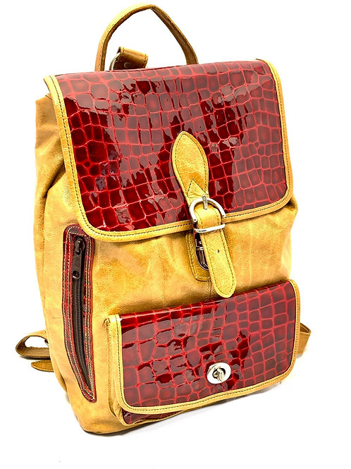 Medium Backpack Golden Tan w/ Glosssy Red Croc Print