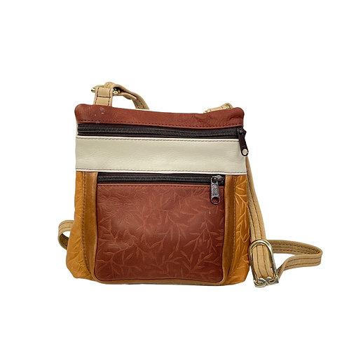 Style #120 Multi Tone Brandy w/ Embossed Tiny Leaves Leather Crossbody Bag