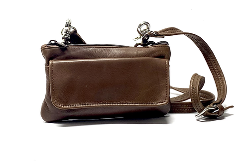 Waist Style Leather Pouch w/Removable Crossbody Strap