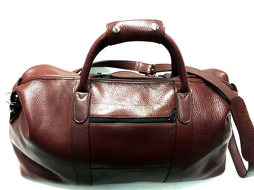 Carry-On Pebbled Leather Duffle Burgundy