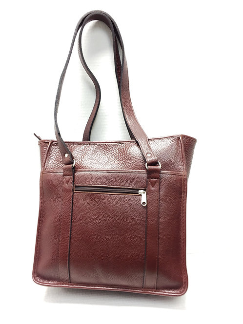 Style Horizontal Leather Work Tote Burgundy