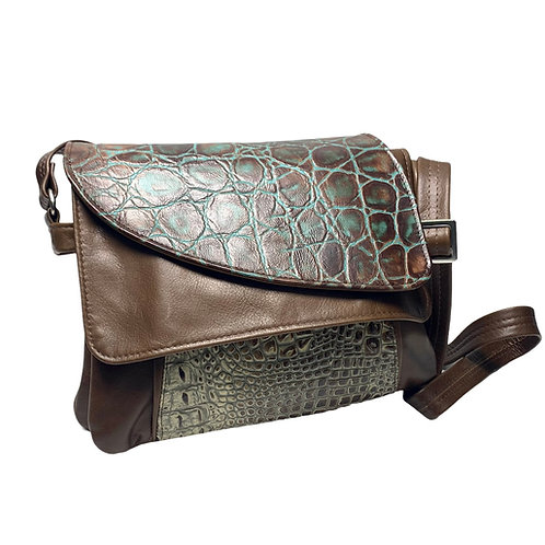 Style #112 Tulip - Teal and Chocolate Croco Embossed Leather Crossbody Bag