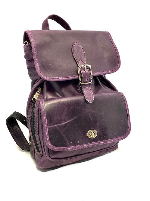 Style Backpack Medium Distressed Purple Leather