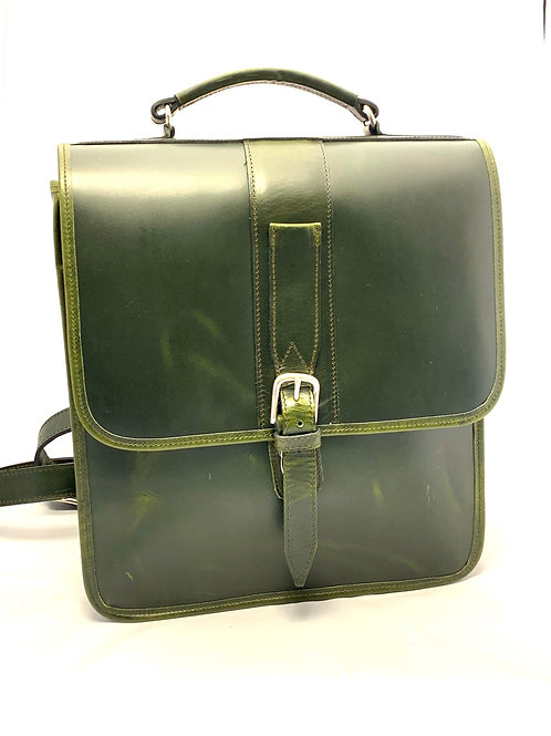 Briefcase Style Leather Backpack Double