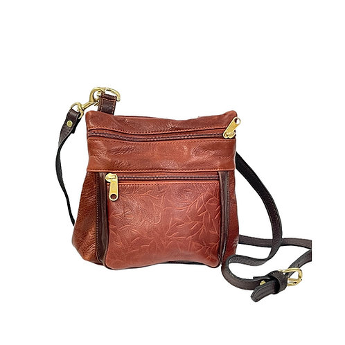 Style #120 Brandy Embossed Tiny Leaves Leather Crossbody Bag