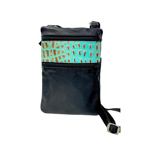 Small Double Zipper Crossbody Bag Black w/Teal Croco