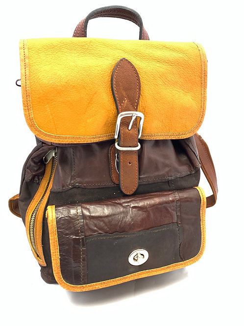 Style Backpack Medium Soft Brown Patchwork/Bison Leather