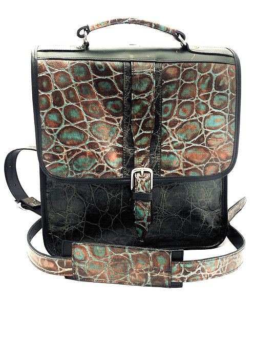 Briefcase Style Backpack Single Brown/Teal Croco Embossed Leather
