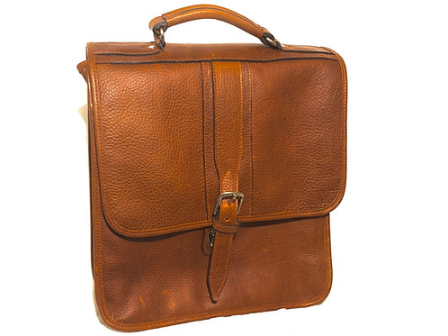 Briefcase Style Pebbled Leather Backpack Double