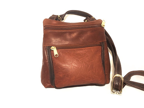 Style #120 Two Tone Brandy w/ Embossed Tiny Leaves Leather Crossbody Bag