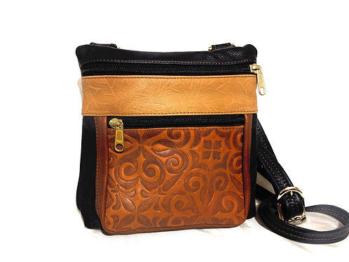 Style #120 Two Tone Whiskey/Navy Leather Crossbody Bag