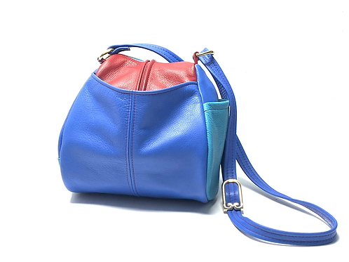 Style #130 - Droplet Leather Crossbody Bag Multi Tone Blue w/red
