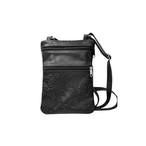 Small Double Zipper Crossbody Bag Black w/Black Tiny Leaves print