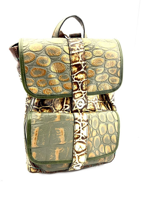 Style Backpack Medium Multi Croco Embossed Leather