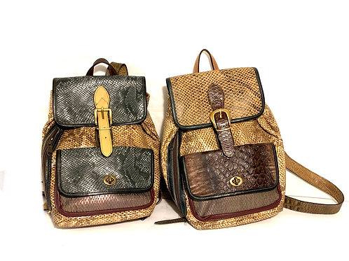 Style Backback Small Reptile Embossed Leather